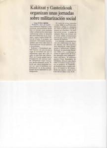 Jornadas Militarización Social 2000