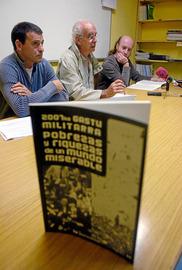 """El colectivo Gasteizkoak presenta el libro """"2007ko gastu militarrak. Pobrezas y riquezas de un mundo miserable""""."""